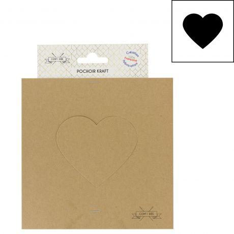 Gabarit pochoir en carton kraft cœur