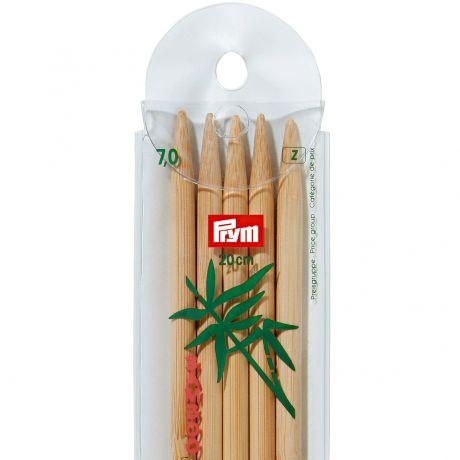 Aiguille tricot 2 pt bambou 20cm n°7