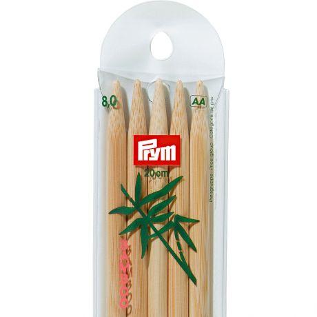 Aiguille tricot 2 pt bambou 20cm n°8