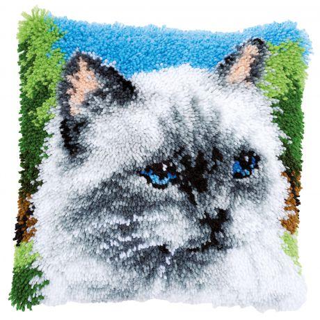 Kit coussin au point noué chat gris