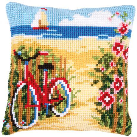 Kit coussin au point de croix a la plage