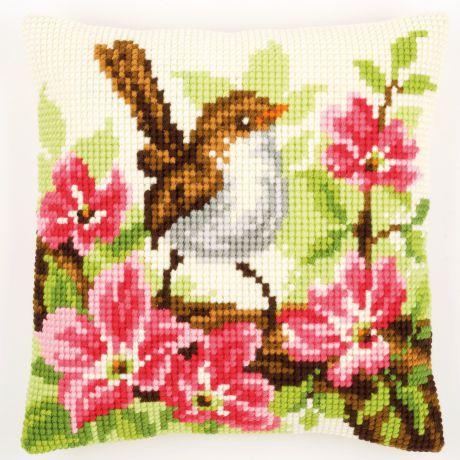 Coussin au point de croix oiseau et fleurs