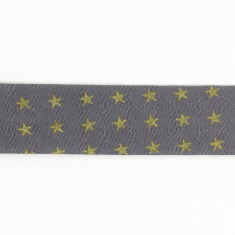 Biais 40/20 en batiste gris étoile dorée
