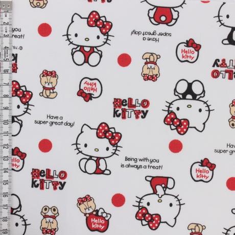Tissu Hello Kitty bear dot blanc