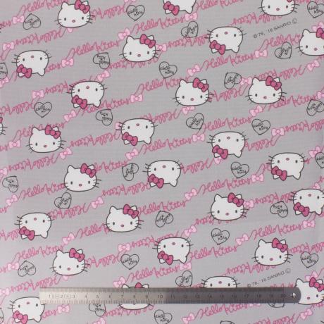 Tissu Hello Kitty oxford gris