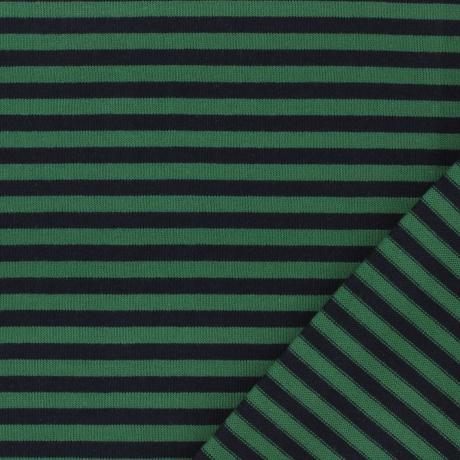 Tissu jersey marine/vert
