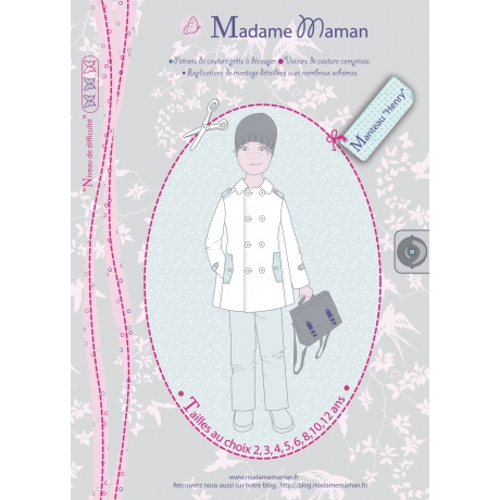 Patron Madame Maman manteau Henry 2 ans