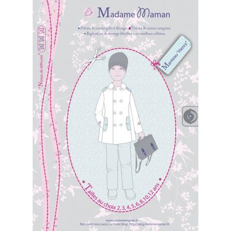 Patron Madame Maman manteau Henry 3 ans