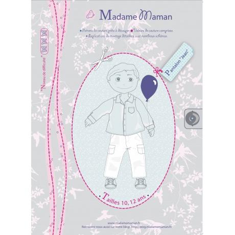 Patron Madame Maman pantalon jean 10-12 ans