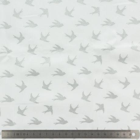 Popeline Stenzo 100% coton imprimé oiseau argent