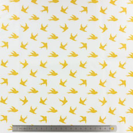 Popeline Stenzo 100% coton imprimé oiseau doré