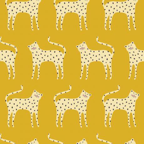 Tissu Dashwood ditsies léopard gold