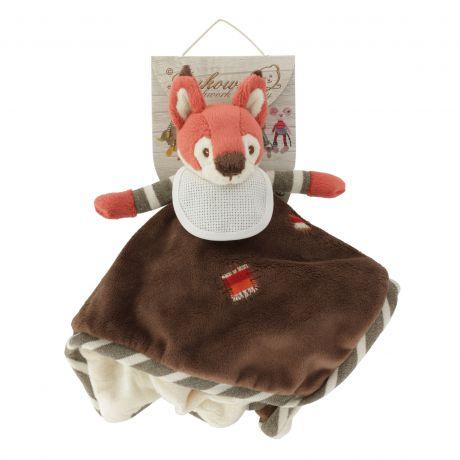 Doudou plat écureuil roux 33 x 33 cm