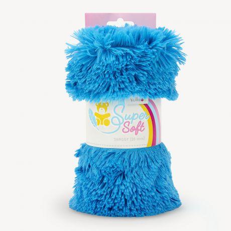 Tissu peluche Kullaloo shaggy 20mm bleu