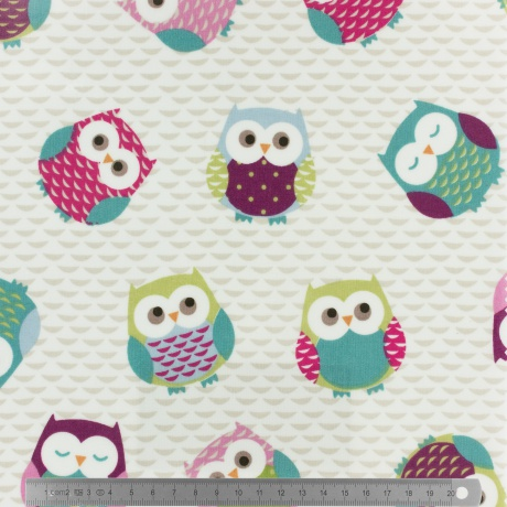 Tissu enduit Fryett's owls multi132cm