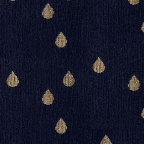 Tissu jacquard bio glam drops - Marine lurex or