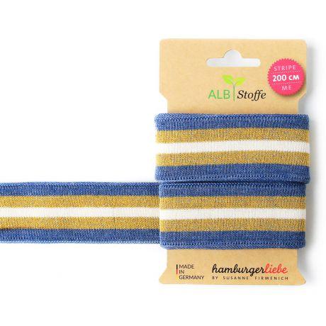 Bande jersey Stripe Me bleu/doré/blanc