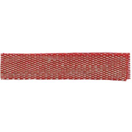 Ruban lin acrylique rouge et lin 10 mm