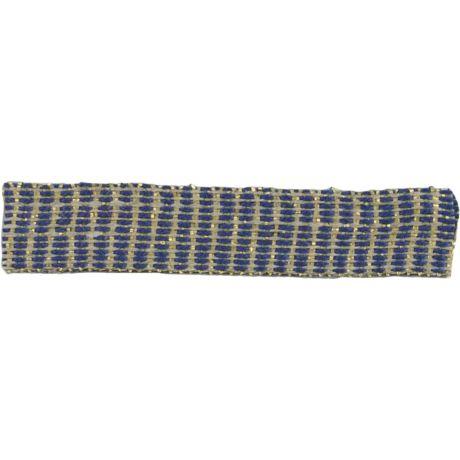 Ruban lin marine doré 10 mm