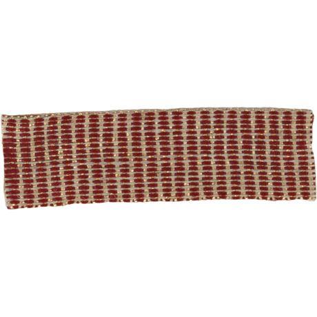 Ruban lin bordeaux doré 15 mm