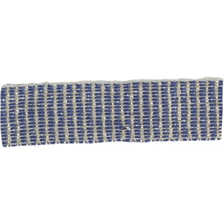 Ruban lin marine argent 15 mm