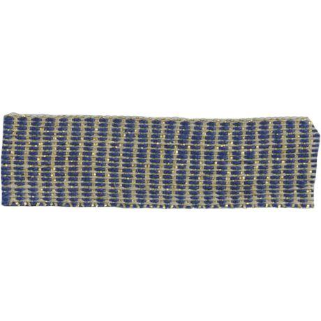 Ruban lin marine doré 15 mm