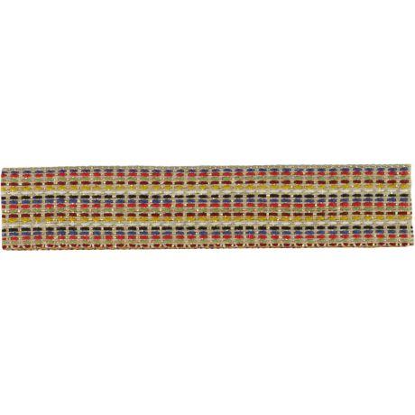 Ruban lin multicolor et doré 15 mm