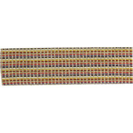 Ruban lin multicolor et doré 25 mm
