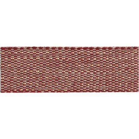 Ruban lin bicolore bordeaux fil doré 15 mm