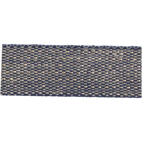 Ruban lin bicolore fil doré 15 mm