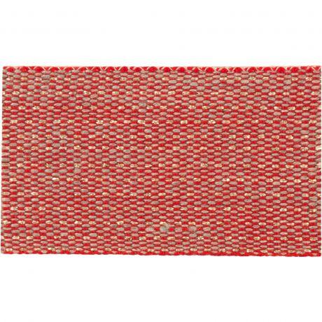 Ruban lin bicolore rouge fil doré 30 mm
