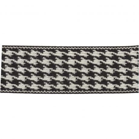 Ruban lin bicolore noir/blanc 25 mm