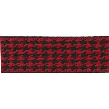Ruban lin bicolore noir/rouge 25 mm