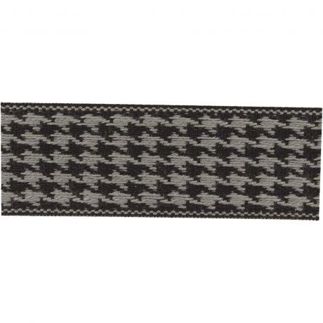 Ruban lin bicolore noir/gris 25 mm