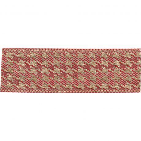 Ruban lin bicolore rouge/doré 25 mm