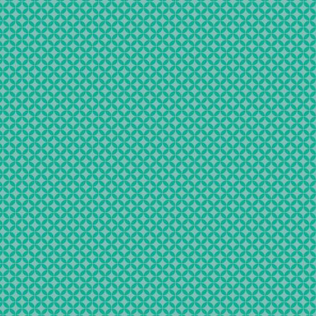 Tissu petite rosace eau turquoise