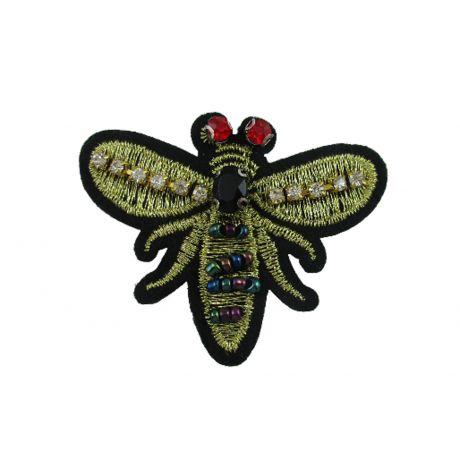 Bijou à coudre abeille brodée or - 6 x 5 cm